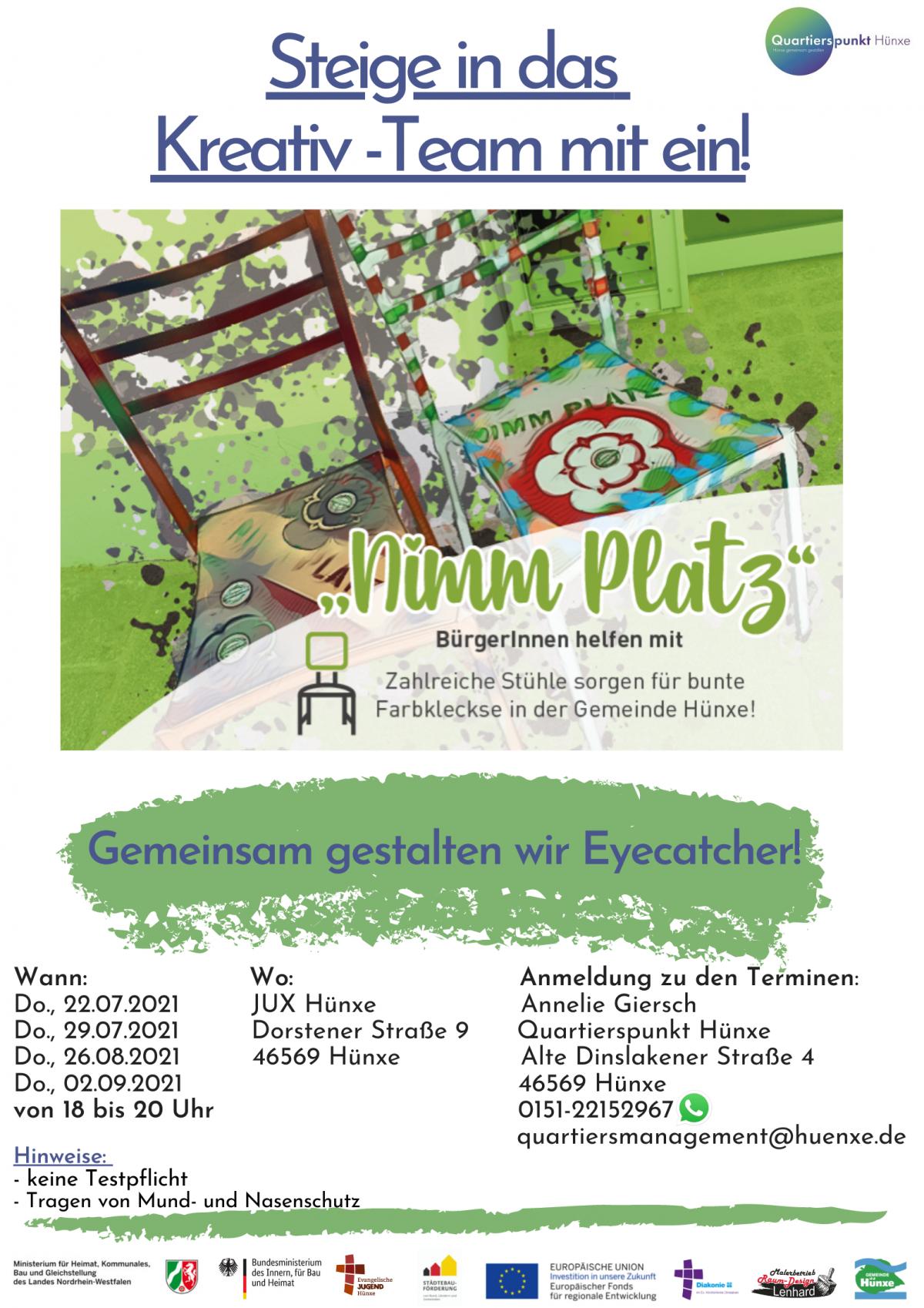 """Plakat zur Aktion """"Nimm Platz"""" in Hünxe"""